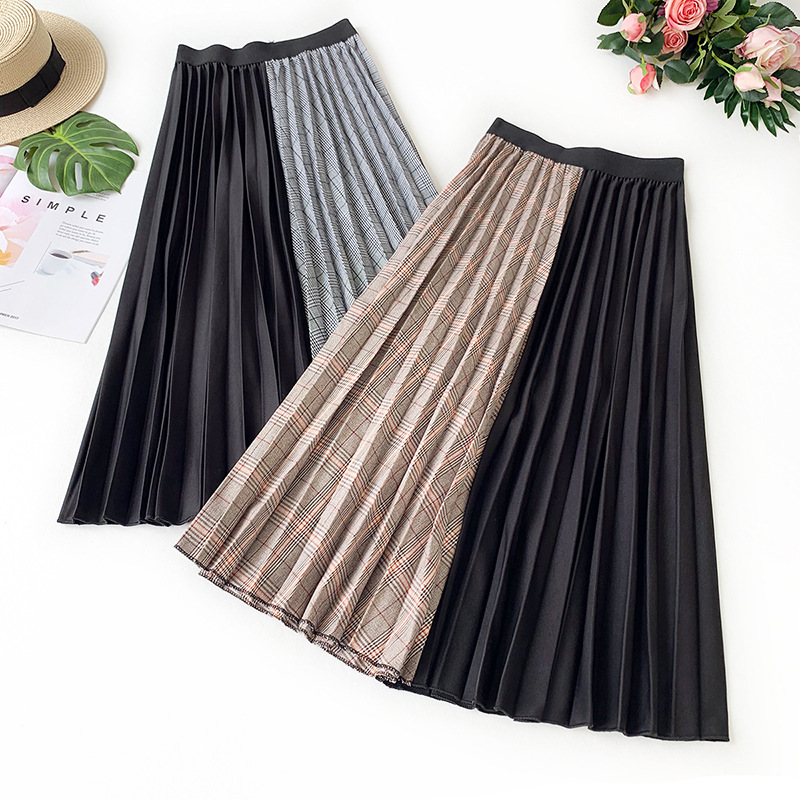 Wasteheart Autumn Winter Gray Kahak Women Skirts Fashion Plaid Pleated Color Mid Calf Skirt All match Clothing Contrast in Skirts from Women 39 s Clothing