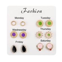2020 new trendy mixed enamle geometric round water drop design stud earrings for women elegant rhinestone party accessoires gift
