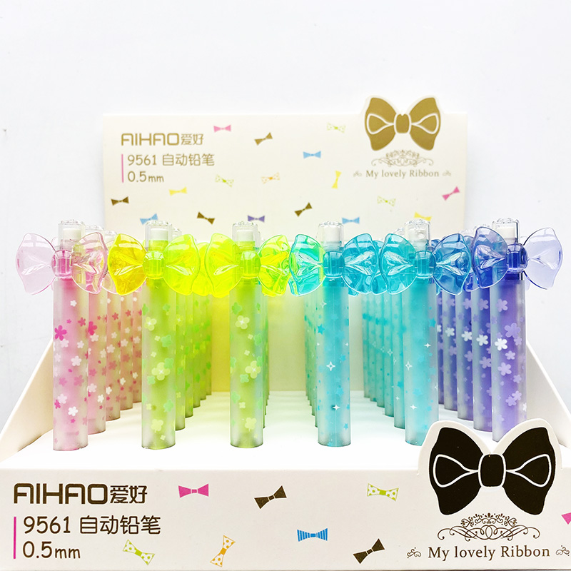 2PCS Cute My Lovely Ribbon Automatic Mechanical Pencil Writing Drawing Pencil School Office Supply Student Stationery 0.5mm