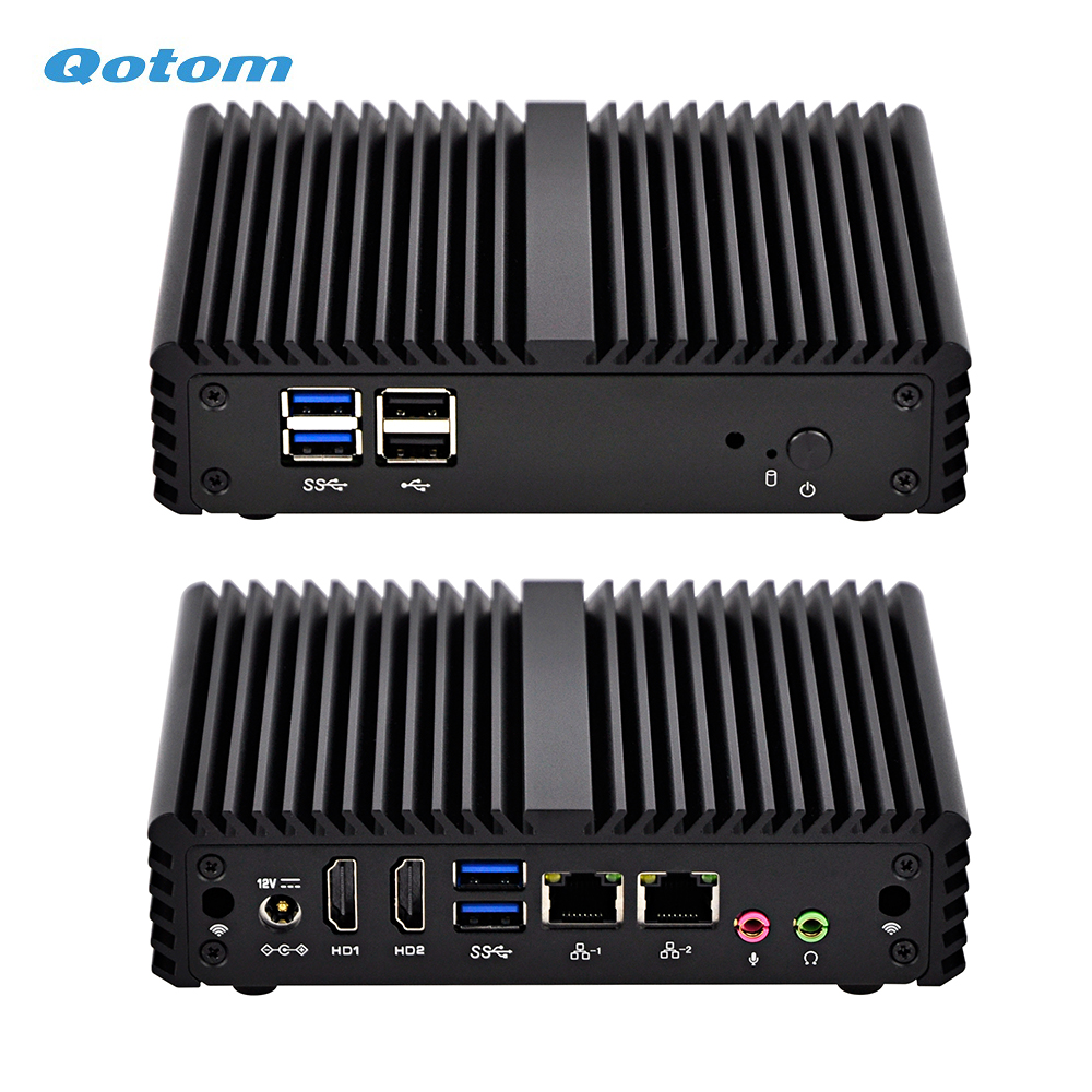 Qotom Fanless Mini Industrial PC With 2 LAN And 2 Display Ports, Celeron J3160 Processor Quad Core 2.24 GHz