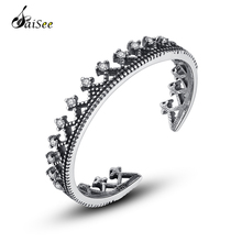 SaiSee 925 Sterling Silver Retro Crown Adjustable Open Finger Rings for Women CZ Zircon Jewelry Female Gift Dropshipping