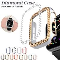 Luxus Uhr Fall für Apple Uhr 44mm 40mm 42mm 38mm Pc Diamant Uhr Abdeckung für Iwatch serie 6 5 SE 4 3 2 1 Helle Beschichtung