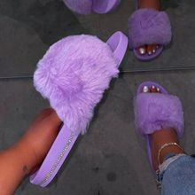 2020 Summer Fluffy Fur Sandals Shoes Female Solid Colour Rhi