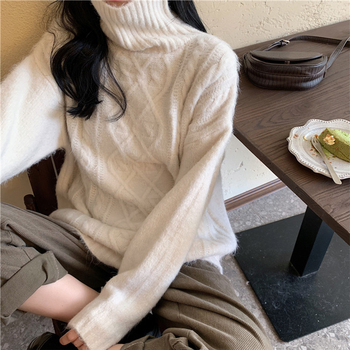 Ailegogo Women Turtleneck Knitted Pullovers Autumn Female Solid Color Loose Sweater Long Sleeve Knitwear Ladies Tops 5