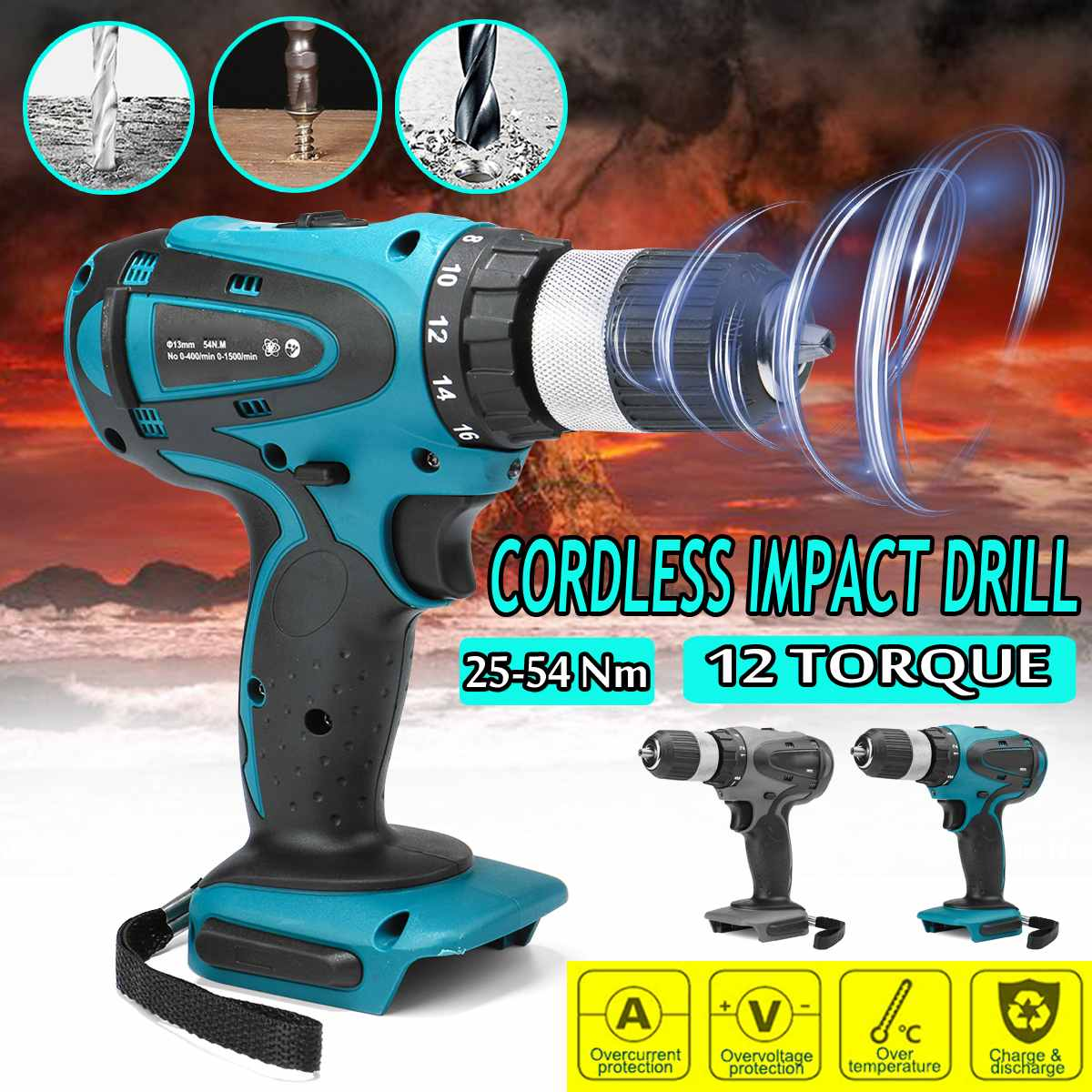 18V Cordless Electric Impact Drill Rechargable 2 Speed Power Electric Screwdriver drill 13mm chuck For Makita Battery Power Tool
