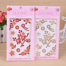 Creative Mobile Phone Stickers Colorful Rhinestone Acrylic Flatback Beads Butterfly Flower Love Pattern Sticker For Nails