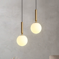 Modern Pendant Lamp Luxurious Gold Glass Ball Lampshade Hanging Lights Fixtures For Dining Room Bedroom Decoration Lighting