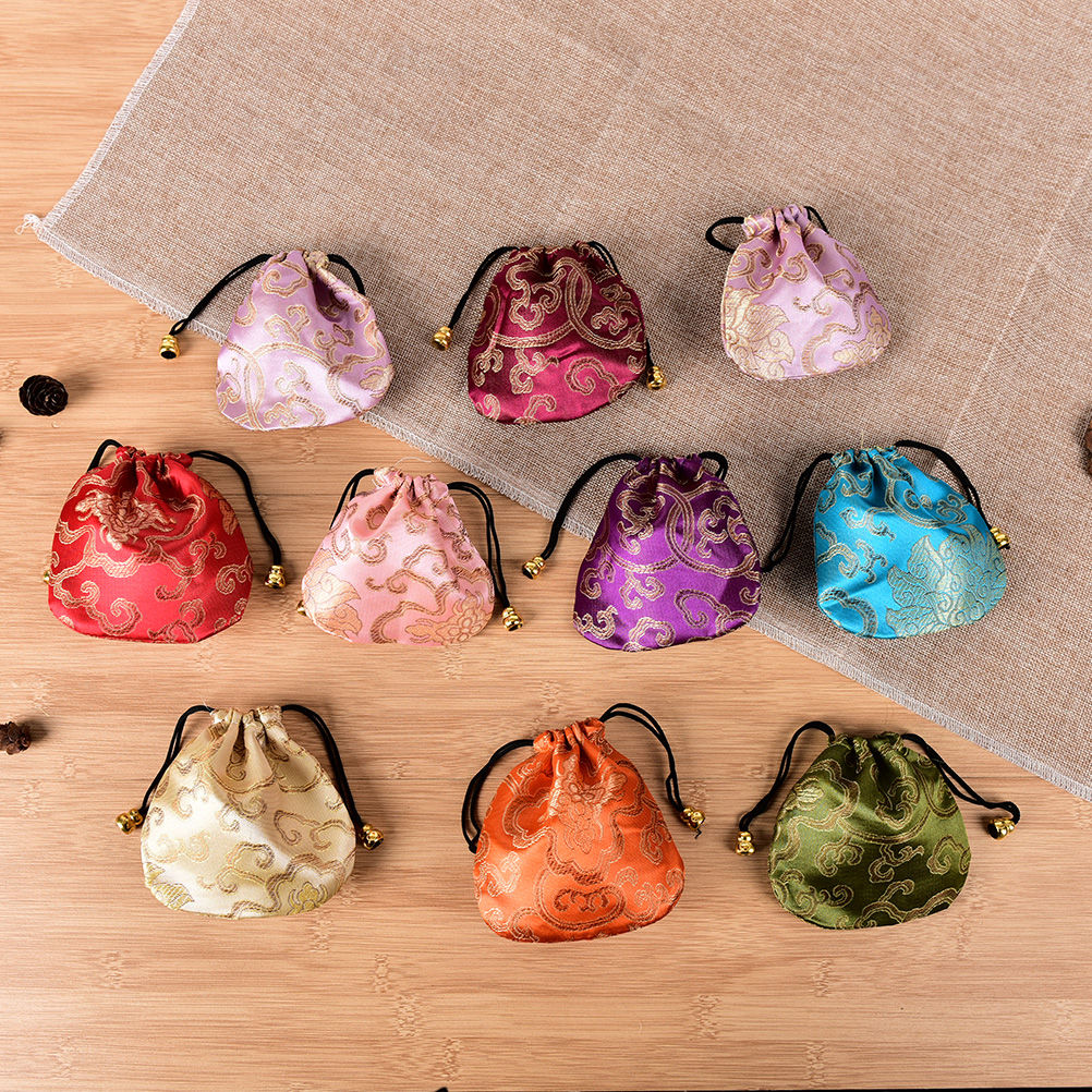 10PCS Chinese Silk Embroidery Drawstring Bags Jewelry Display Mini Coin Purses Women Jewelry Bag Packaging Bags