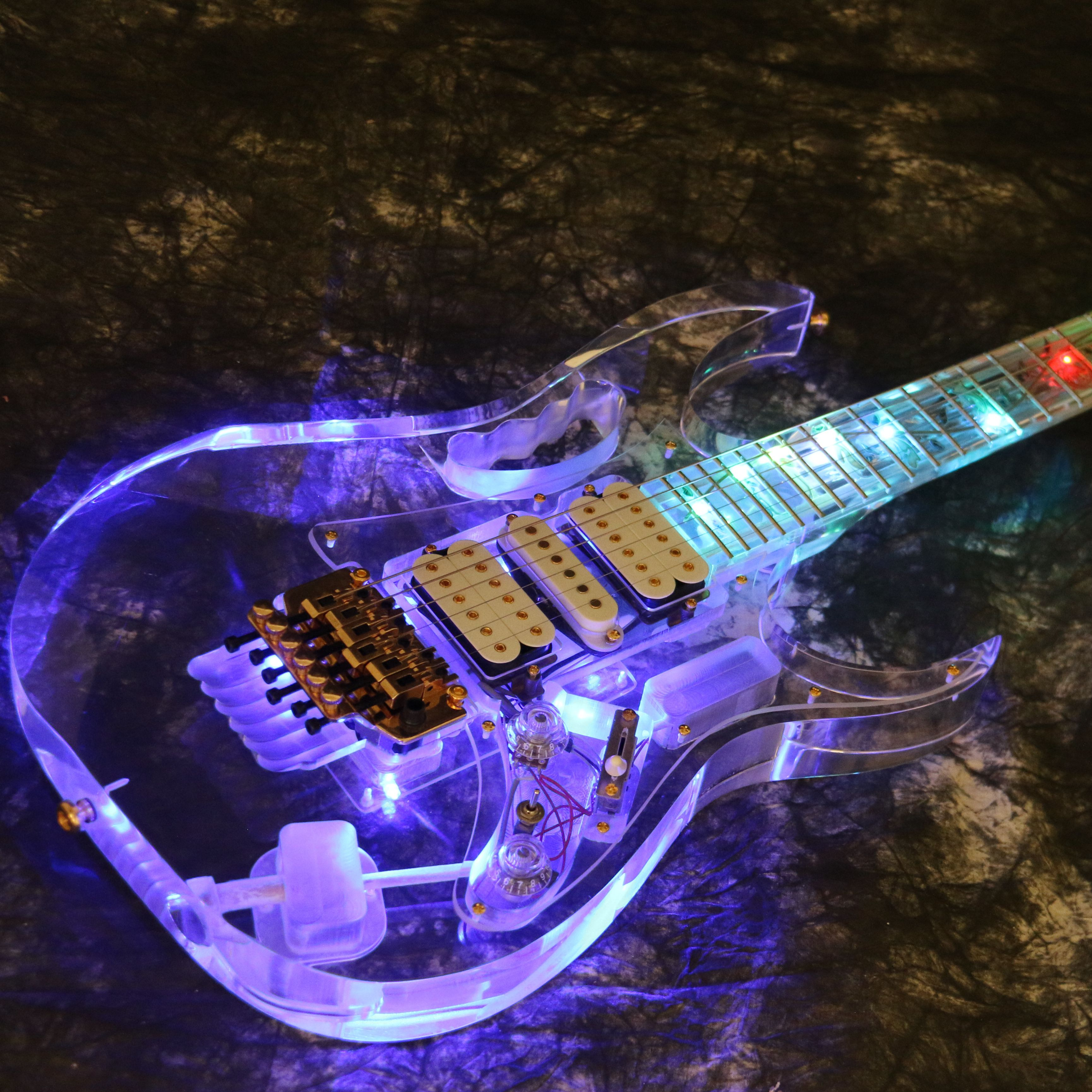T-ED12 LED Light Electric Guitar 7VE Style Full Acrylic Colorful Flash Led Light Crystal Guitar
