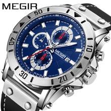 цена 2019 Fashion MEGIR Men's Army Sports Chronograph Quartz Watches Leather Strap Luminous Waterproof Shockproof Wristwatch онлайн в 2017 году