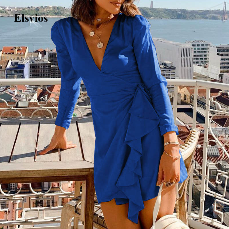 Casual Autumn Long Sleeve Mini Dress Sexy Women V-Neck Party Dress Elegant Femme Ruffles Wrap Slim Club Dress Vestidos Mujer XXL image