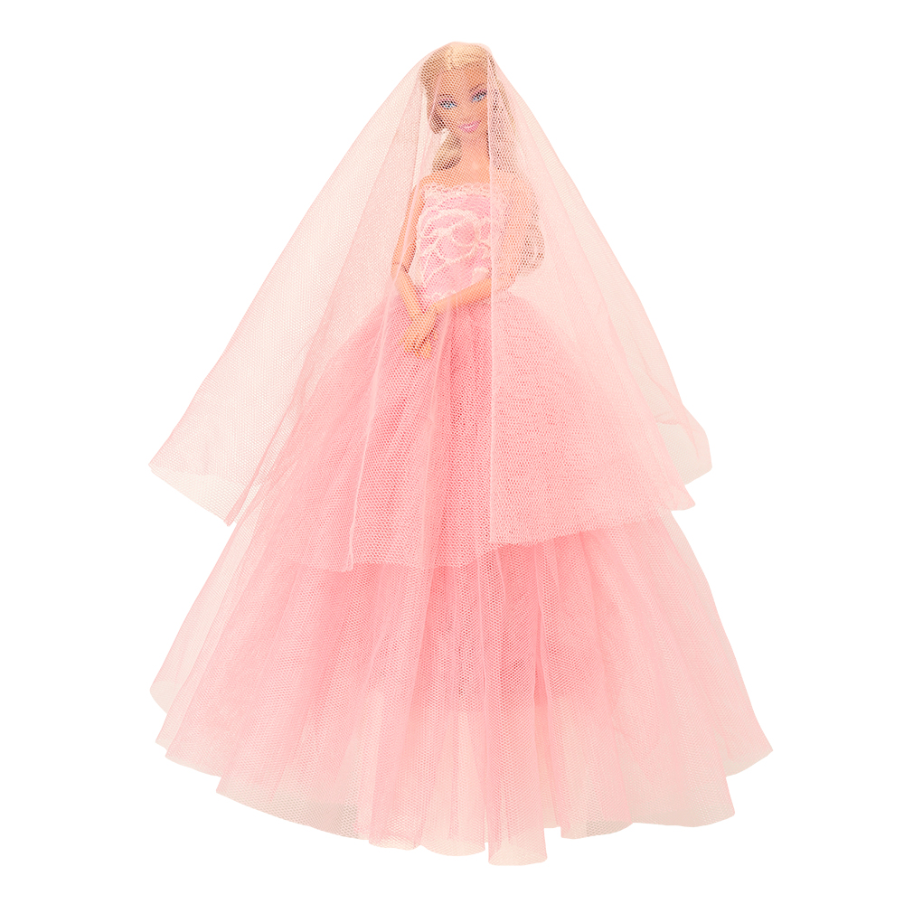 Fashion Handmade Doll Accessories Toys For Children Pink Bride Wedding Party Dress Clothes Suit For Barbie Dressing Make Up Game