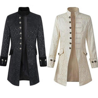 Vintage Long Medieval Jacket Coat Men Autumn Renaissance Steampunk Costume Victorian Gothic Kimono Cardigan Jackets Outerwear