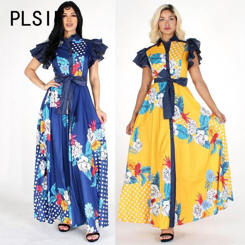 Verão moda feminina elegante vestido de impressão casual sexy praia longo maxi vestido senhoras quente sexy vestidos longo