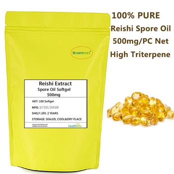 100% Pure Reishi Spore Oil Softgel 500mg Net Content High Triterpene Supercritical Extracted Ganoderma Lucidum Spore oil Capsule 0 5g 200 grains capsules net weight 100g prolong life and anti aging reishi mushroom spore oil softgel ganoderma lucidum