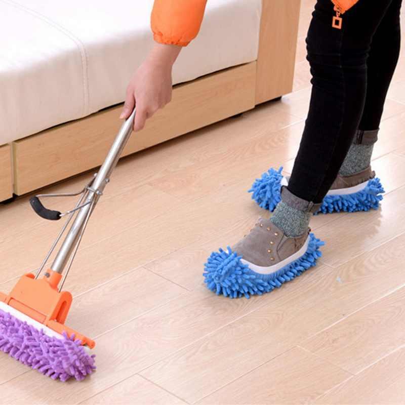 Urijk 1PC Staub Mop Slipper Faul Haus Boden Polieren Reinigung Einfach Fuß Socke Schuh Abdeckung Mikrofaser Faul Fuzzy Hausschuhe HEIßER