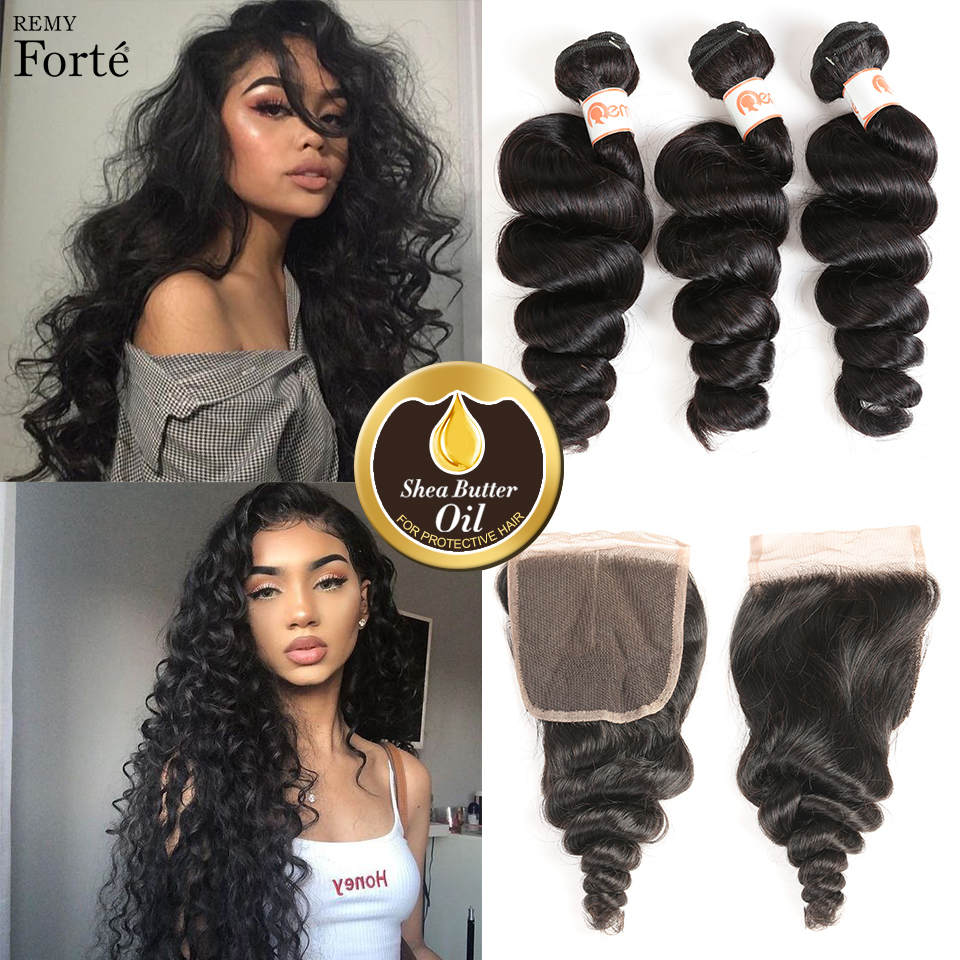 Remy Forte Loose Wave Bundles With Closure 10-30 Inch Hair Remy Brazilian Hair Weave Bundles 3 /4 Wave Bundles With Closure Fast