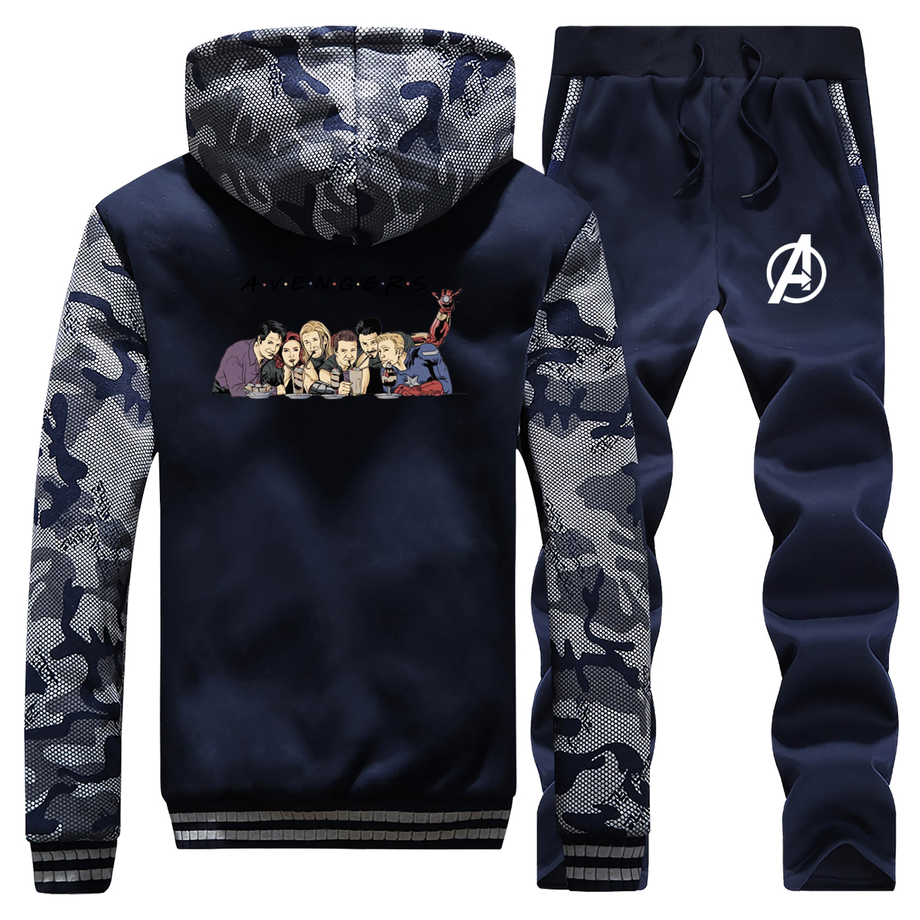 2019 Winter Coat Thick Mens Funny The Avengers Super Hero Sweatshirts Camouflage Warm Jackets Suit Hoodies+Pants 2 Piece Set