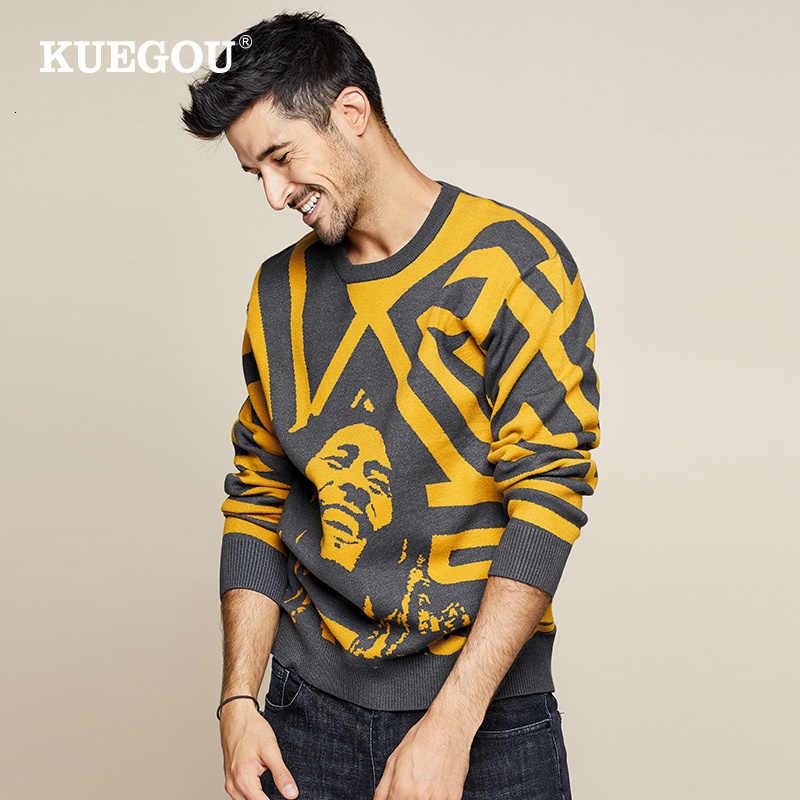 KUEGOU 2019 가을 패치 워크 캐릭터 스웨터 남성 풀오버 캐주얼 점퍼 남성 니트 한국 스타일 의류 플러스 사이즈 1754