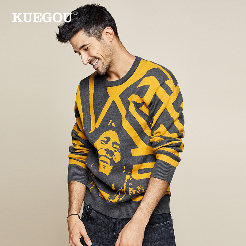 KUEGOU 2019 Autumn Patchwork Character Sweater Men Pullover Casual Jumper For Male Knitted Korean Style Clothes Plus Size 1754