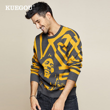 KUEGOU 2019 Autumn Patchwork Character Sweater Men Pullover