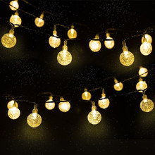 New 20/50 LEDS Crystal ball 5M/10M Solar Lamp Power LED String Fairy Lights Garlands Garden Christmas Decor for Outdoor