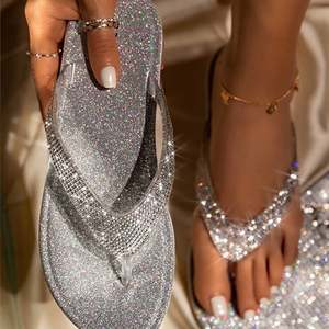 Woman Slippers Sandalias Slides Flat-Shoes Flip Summer Feminino Thong Bling Crystal Sapato