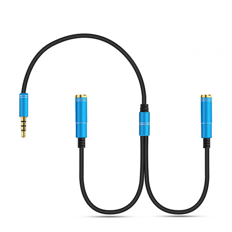 Lightweight Earphone Share Adapter Cord 3.5mm Audio Aux Male To 2 Female Headphone Extension Cable Splitter