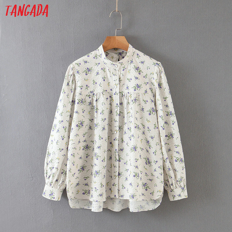 Tangada Women Oversized Floral Print Blouse Puff Long Sleeve Chic Female Casual Loose Shirt Blusas Femininas QB107
