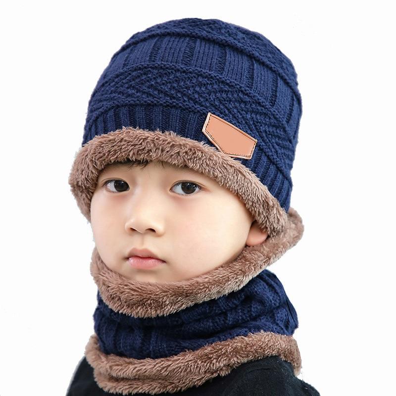 Fashion Autumn Winter Knitted Wool Hat Scarf Set Children's Hat's Beanies Boys Girls Balaclava Hat Two-piece Bonnet Warmer Cap