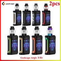 Newest Geekvape Aegis X E cigarette Vape Kit 200w box mod & 5.5ml tank by dual 18650 battery waterproof vapor E cigarette Kit