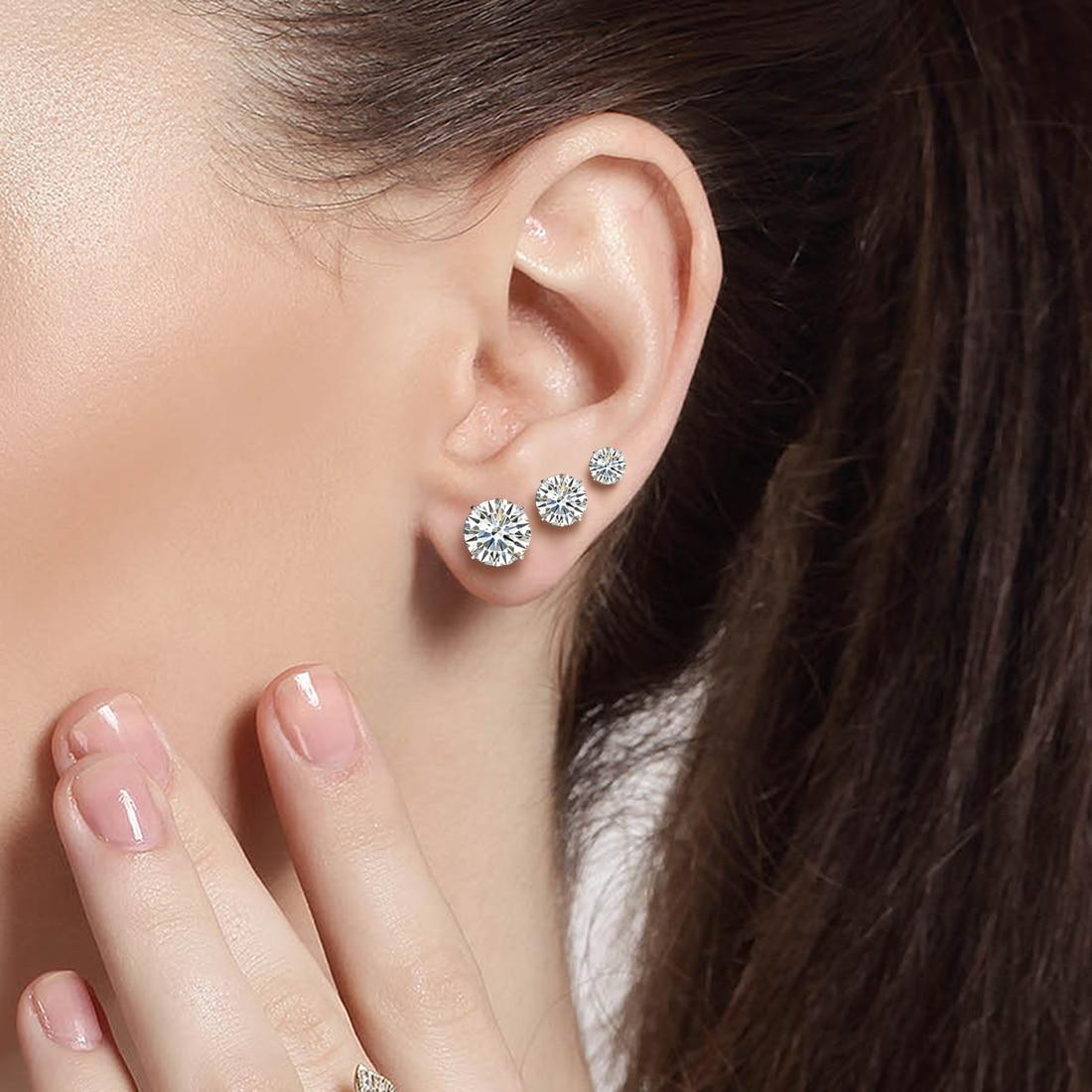 Jiayiqi Real 925 Sterling Silver Earrings 3-8mm Four Claws Crystal Zircon Silver Stud Earrings For Women Sterling Silver Jewelry 3