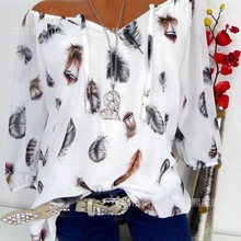 Large size women's 2019 summer new blouse casual loose feather print V-neck five-point sleeve shirt