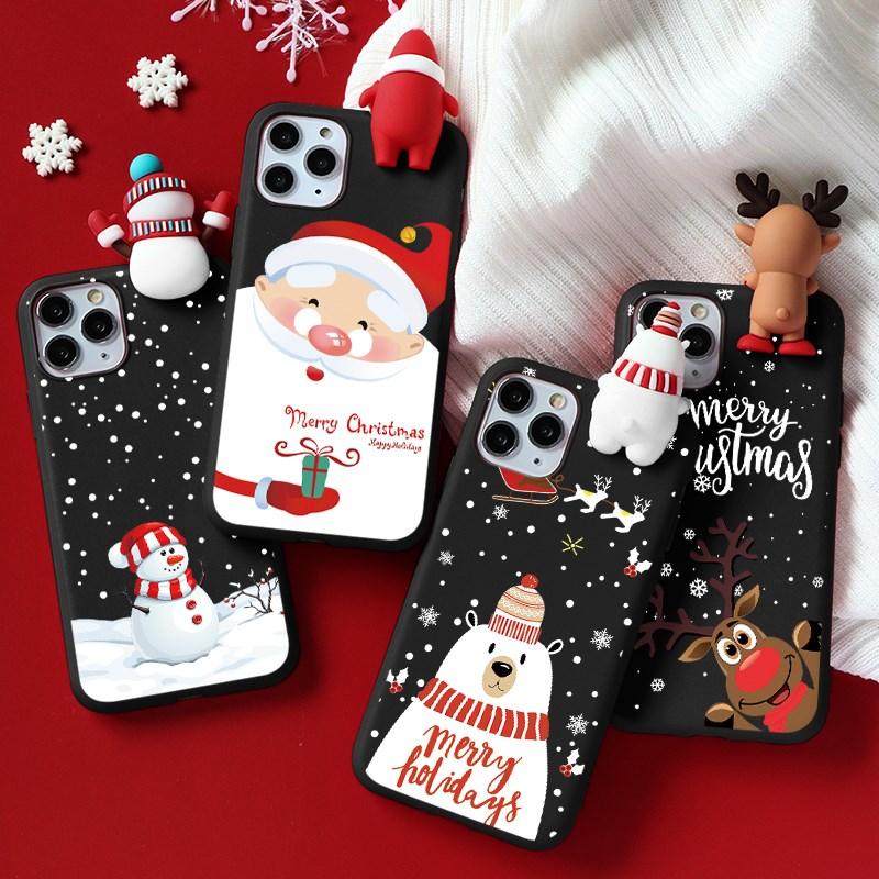 3D Christmas Cartoon Doll Case Coque For Iphone 12 12Mini 11 Pro Max 7 8 6 6S Plus 5 5S SE 2020 X XR Xs 12Pro Santa Claus Fundas