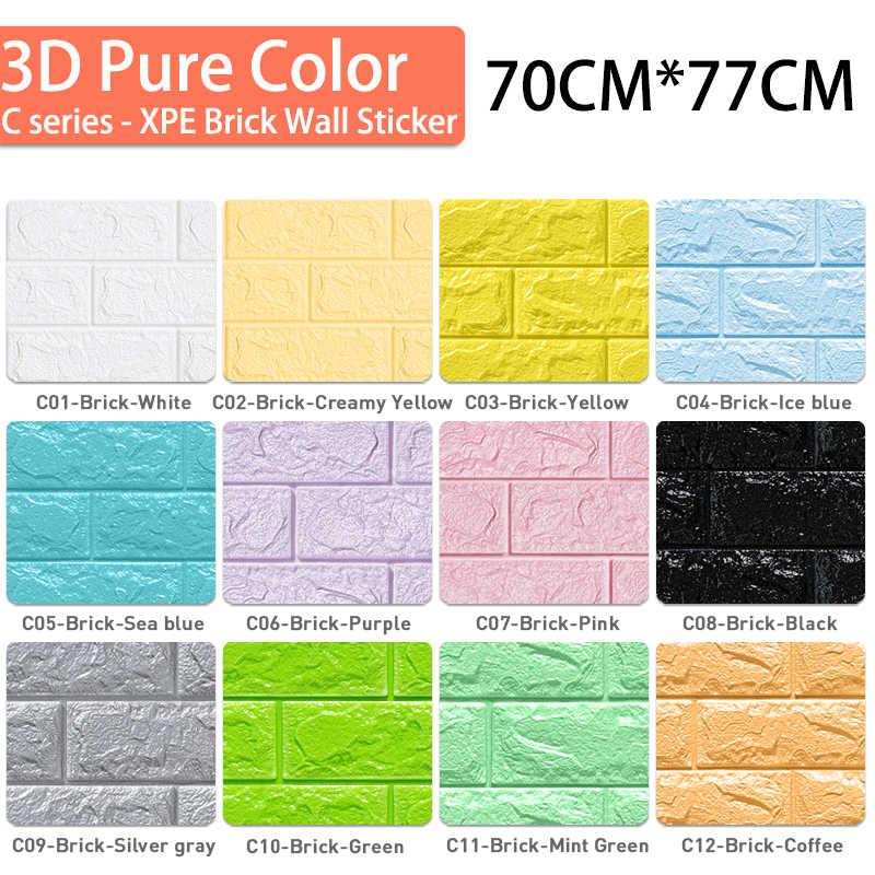 3D קיר מדבקות לבני אבן דפוס עמיד למים דביק 70cm * 77cm 3D טפט מדבקה לילדים חדר מטבח סלון