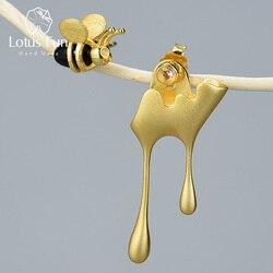 Lotus zabawy prawdziwe 925 Sterling Silver Handmade Fine Jewelry 18K złota pszczoła i kapanie miód asymetryczne stadniny kolczyki dla kobiet prezent