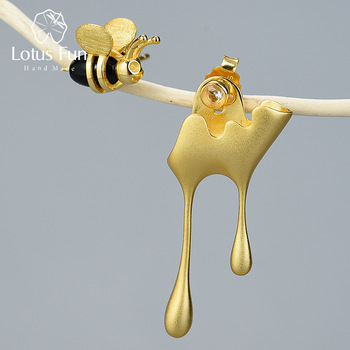 Lotus Fun Real 925 Sterling Silver Handmade Fine Jewelry 18K Gold Bee and Dripping Honey Asymmetric Stud Earrings for Women Gift lotus fun moment real 925 sterling silver natural blue stone fashion jewelry cute hollow out honeybee dangle earrings for women