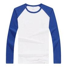 Camisa de manga comprida de algodão de lycra de manga comprida de algodão de raglan tshirt tendência casal magro camisa de fundo casual camisas