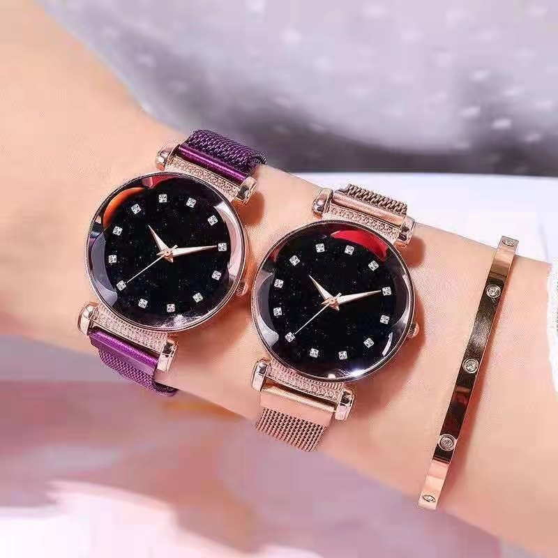 Часы WOKAI женские кварцевые с магнитной застежкой, люксовые модные повседневные наручные, со стразами