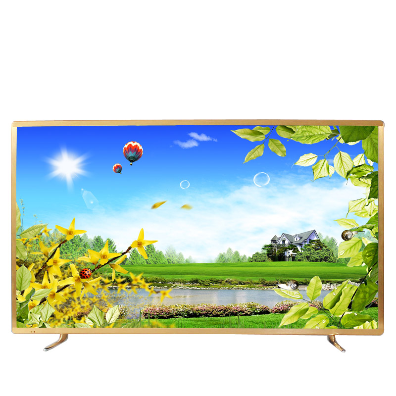 Gold color frame 43 50 55 60 65 inch TV android smart wifi internet LED LCD 4K television TV image