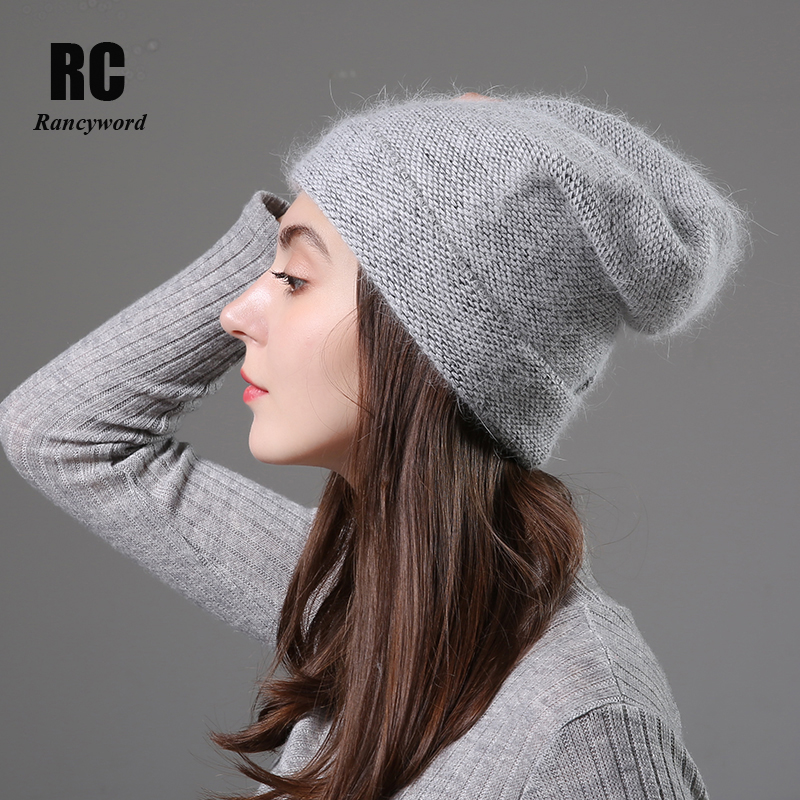 [Rancyword] Women Winter Hats Beanies Knitting Rabbit Wool Fur Hat Female Real Fur Skullies Caps Gorros Solid Color RC