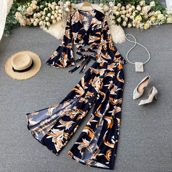 Bohemian Vacation Beach Two Piece Set Women Sexy V-Neck Bandage Short Tops + High Waist Split Wide Leg Pant Suit Spring Autumn 1