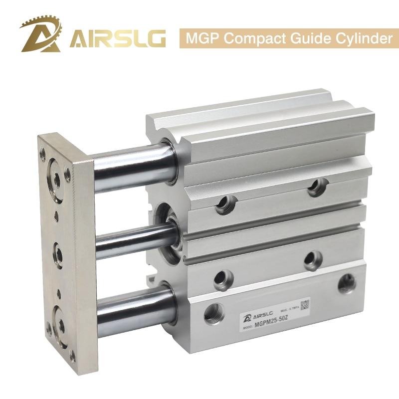 Cilindro pneumático fino do ar de três eixos do cilindro compacto do guia de mgp com curso furado 25-400mm mgpm32 40 mm da haste de guia