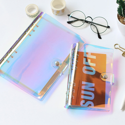 Creative PVC A5 A6 Laser Binder Loose Notebook Diary Cover Loose Left Note Book Planner Stationery School Office Supplies