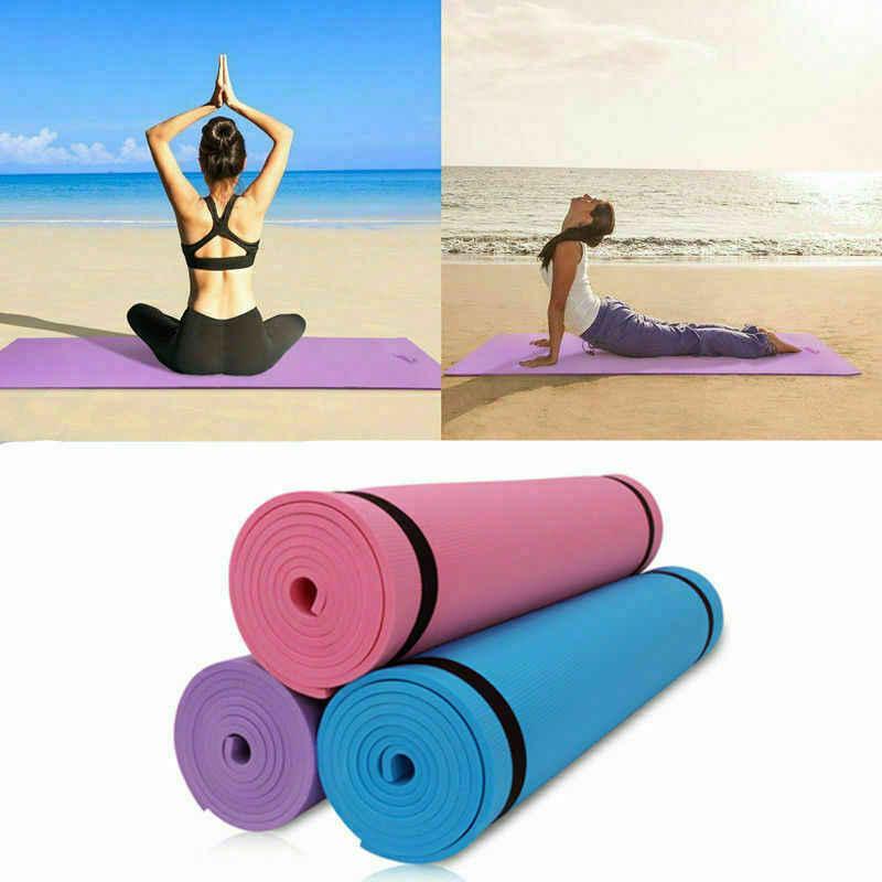 Yeni 173x60x0.4cm siyah marka spor Yoga Mat EVA kaymaz spor Pad egzersiz egzersiz spor salonu Pilates meditasyon aksesuar aracı