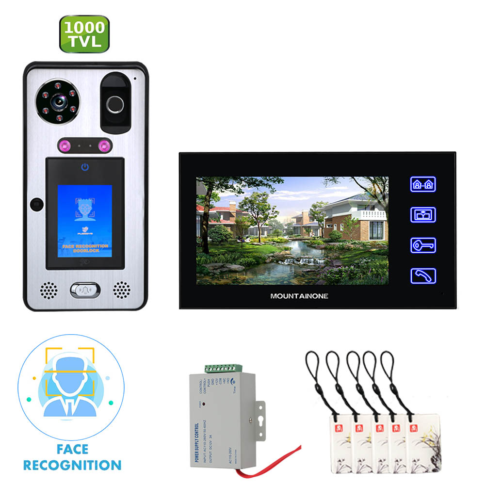 7 Inch WIFI Video Monitoring Video Door Phone Intercom With Face Recognition Fingerprint RFIC Wired Rainproof IR 1000TVL Camera