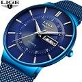 2019 новые синие кварцевые часы LIGE мужские часы Топ Бренд роскошные часы для мужчин простые полностью стальные водонепроницаемые наручные ча...