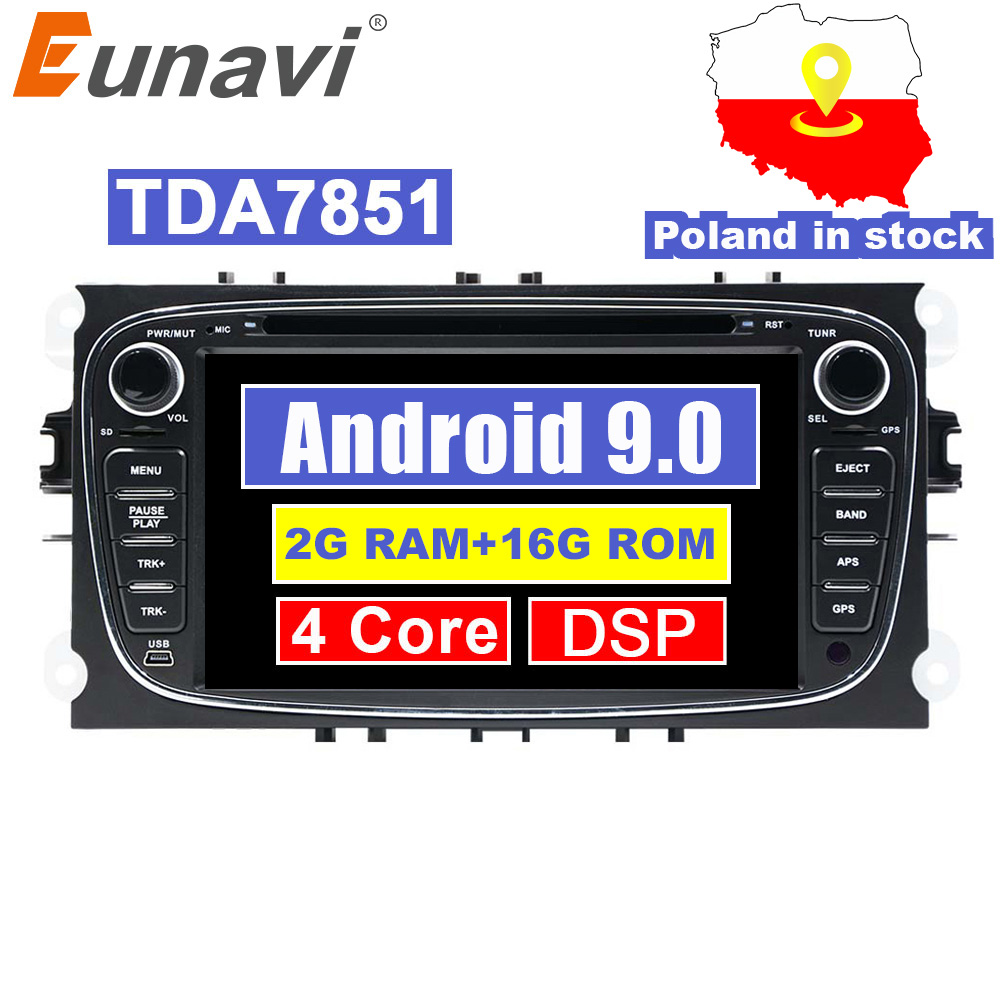 Eunavi 2 Din Android 9.0 Car Radio dvd for <font><b>Ford</b></font> focus 2 Mondeo S-<font><b>MAX</b></font> <font><b>C</b></font>-<font><b>MAX</b></font> Galaxy Transit Tourneo stereo <font><b>GPS</b></font> Navigation DSP WIFI image
