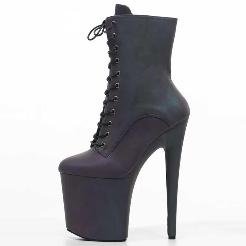 JIALUOWEI 8 inç yüksek topuk dans botları renkli yansıtıcı kumaş aydınlık egzotik tarzı platform çizmeler boyutu 36-43