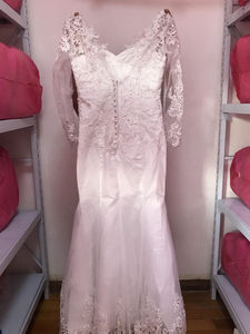 Image 4 - Fansmile 2020 New 2 in 1 Arabic Amazing Detachable Train Mermaid Wedding Dress Long Sleeve Lace Bridal Wedding Gowns FSM 590T